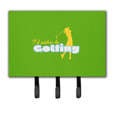 I'D Rather Be Golfing Woman on Green Leash Holder and Key Hook