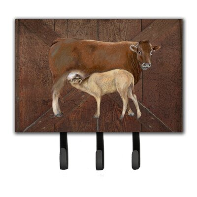 Cow Momma and Baby Leash Holder and Key Hook