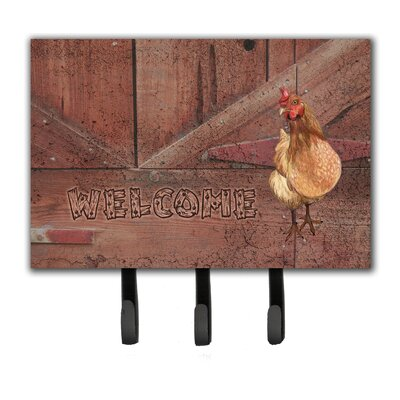 Welcome Chicken Leash Holder and Key Hook