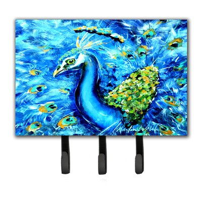 Peacock Straight Up in Leash Holder and Key Hook