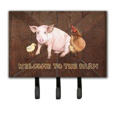 Welcome To The Farm with The Pig and Chicken Leash Holder and Key Hook