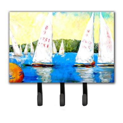 Sailboats Round The Mark Leash Holder and Key Hook