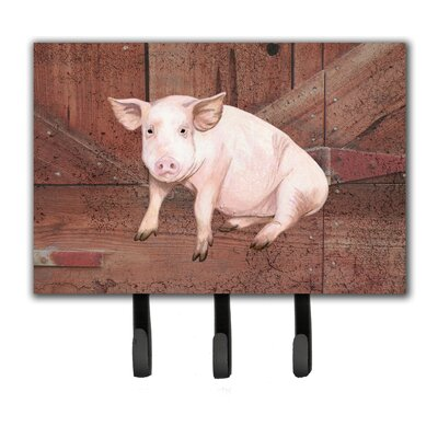 Pig at The Barn Door Leash Holder and Key Hook