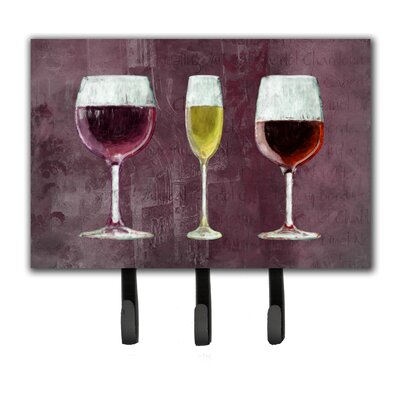 3 Glasses of Wine Purple Leash Holder and Key Hook