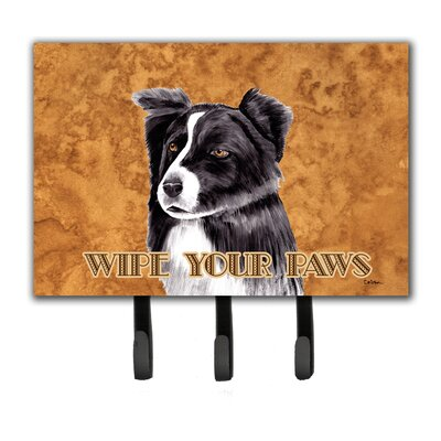 Border Collie Wipe Your Paws Leash Holder and Key Hook