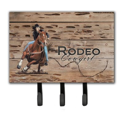 Rodeo Cowgirl Barrel Racer Leash Holder and Key Hook