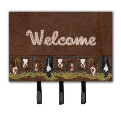 Welcome Mat with Cows Leash Holder and Key Hook