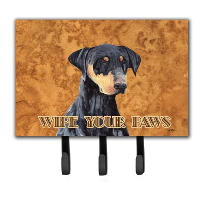 Doberman Wipe Your Paws Leash Holder and Key Hook