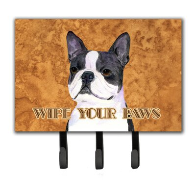 Boston Terrier Wipe Your Paws Leash Holder and Key Holder