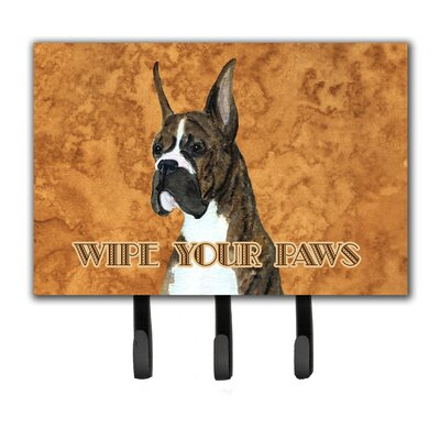 Brindle Boxer Wipe Your Paws Leash Holder and Key Holder