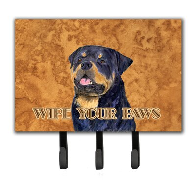 Rottweiler Wipe Your Paws Leash Holder and Key Holder
