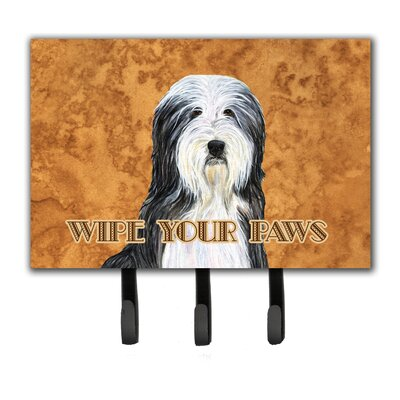 Bearded Collie Wipe Your Paws Leash Holder and Key Holder