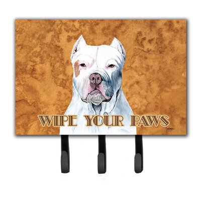 Pit Bull Wipe Your Paws Leash Holder and Key Hook