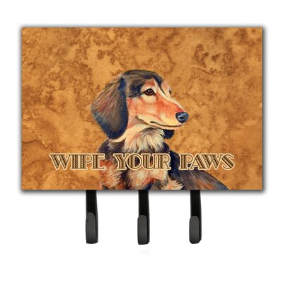 Longhair Chocolate Dachshund Wipe Your Paws Leash Holder and Key Hook
