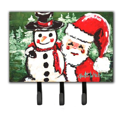 Friends Snowman and Santa Claus Leash Holder and Key Hook