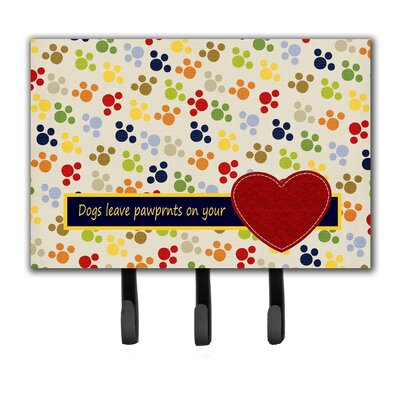 Dogs Leave Pawprints on Your Heart Leash Holder and Key Hook