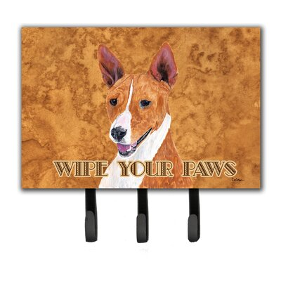 Basenji Wipe Your Paws Leash Holder and Key Hook
