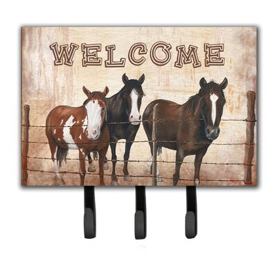 Welcome Mat with Horses Leash Holder and Key Hook