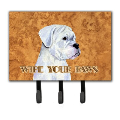 Boxer Wipe Your Paws Leash Holder and Key Holder