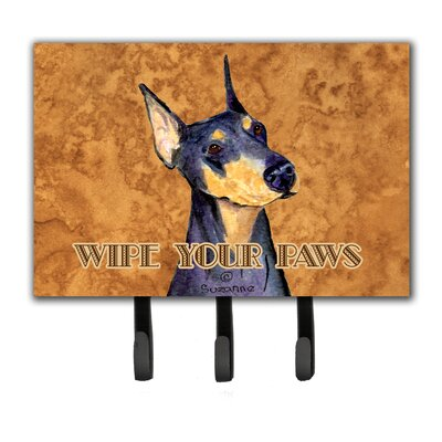 Doberman Wipe Your Paws Leash Holder and Key Holder