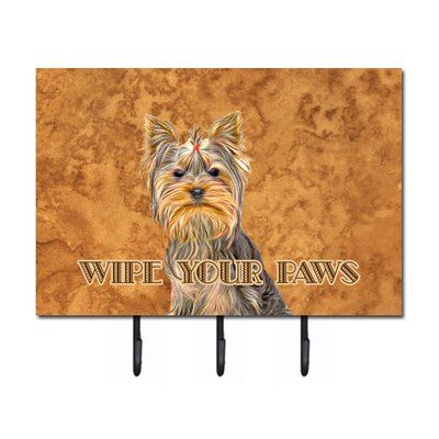 Yorkie / Yorkshire Terrier Wipe Your Paws Leash Holder and Key Hook