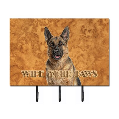 German Shepherd Wipe Your Paws Leash Holder and Key Hook