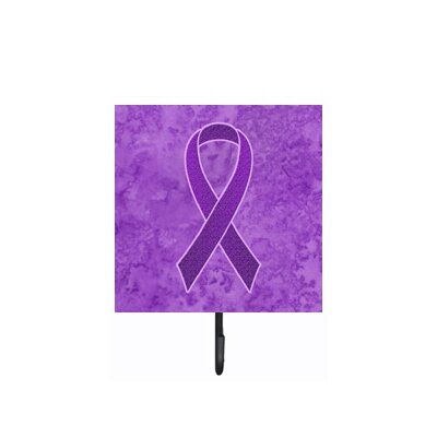 Purple Ribbon For Pancreatic and Leiomyosarcoma Cancer Awareness Leash Holder and Wall Hook