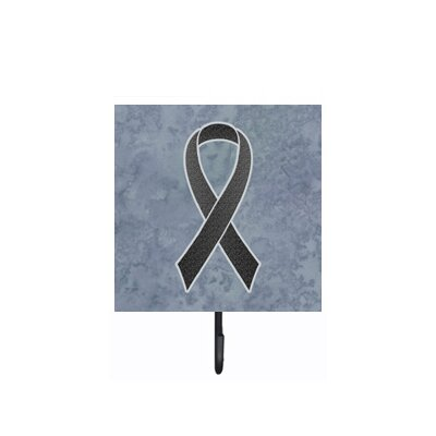 Ribbon For Melanoma Cancer Awareness Leash Holder and Wall Hook