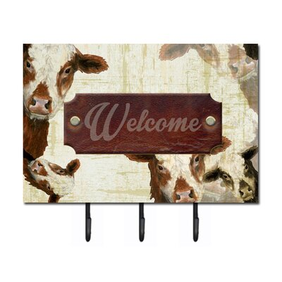 Welcome Cow Leash Holder and Key Hook