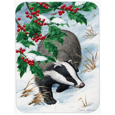 Badgers with Holly Berries Glass Cutting Board