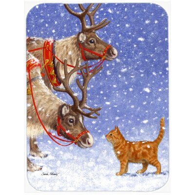 Reindeer and Cat Glass Cutting Board