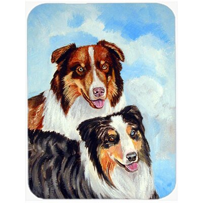 Australian Shepherd Double Trouble Glass Cutting Board