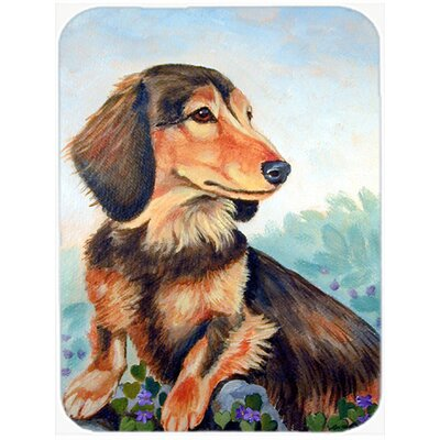 Longhaired Dachshund Glass Cutting Board