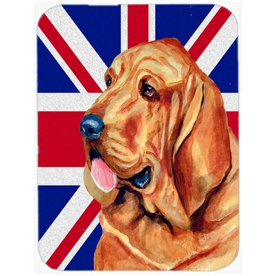 Union Jack Bloodhound with English British Flag Glass Cutting Board