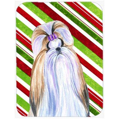 Shih Tzu Candy Cane Holiday Christmas Glass Cutting Board