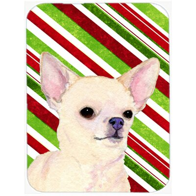 Chihuahua Candy Cane Holiday Christmas Tempered Glass Cutting Board