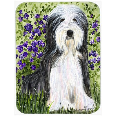 Bearded Collie and Flowers Glass Cutting Board