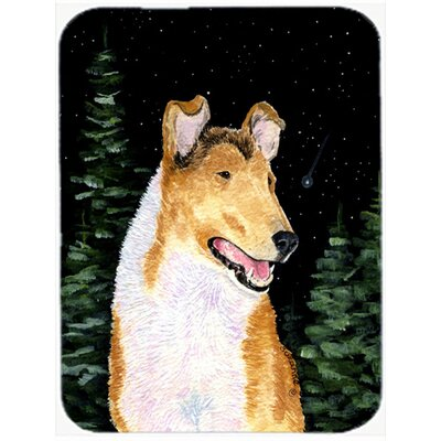 Starry Night Collie Smooth Glass Cutting Board