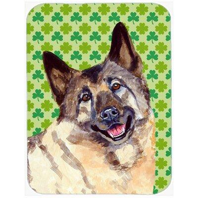 Shamrock Lucky Irish Norwegian Elkhound St. Patrick's Day Glass Cutting Board