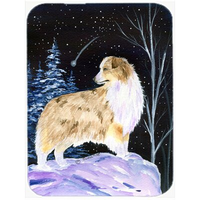 Starry Night Australian Shepherd Glass Cutting Board