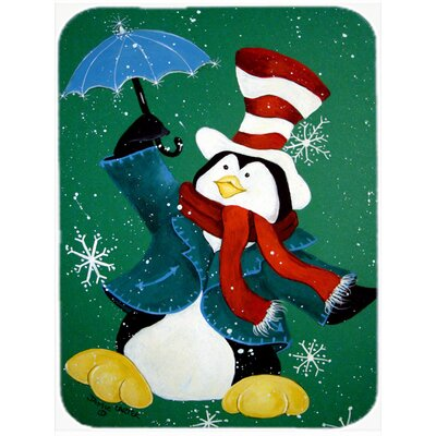 Just Dropping in to Say Hello Christmas Penguin Glass Cutting Board