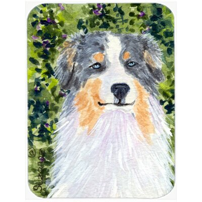 Tricolor Australian Shepherd and Green Glass Cutting Board