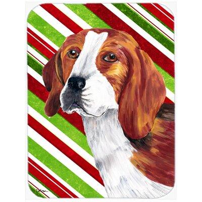 Beagle Candy Cane Holiday Christmas Glass Cutting Board