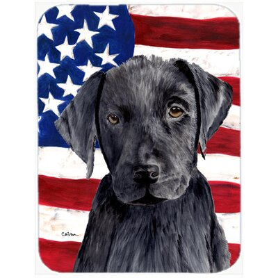 Patriotic USA American Flag with Labrador Glass Cutting Board