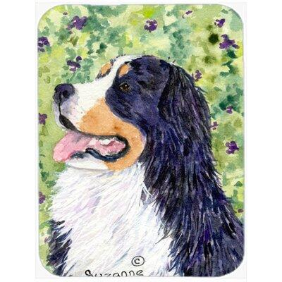 Dog on Flower Background Glass Cutting Board