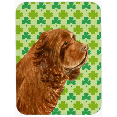 Shamrock Lucky Irish Sussex Spaniel St. Patrick's Day Portrait Glass Cutting Board