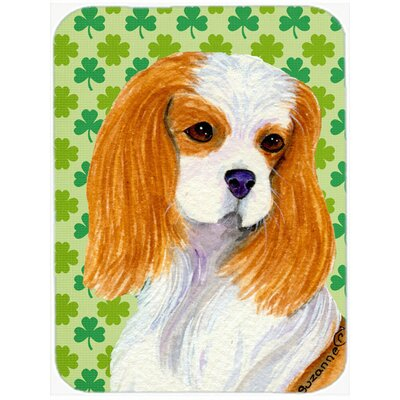 Shamrock Lucky Irish Cavalier Spaniel St. Patrick's Day Portrait Glass Cutting Board