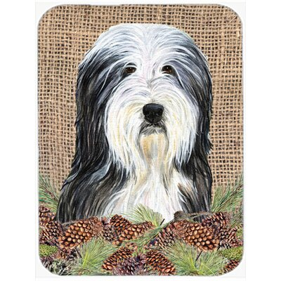 Bearded Collie and Pine Cone Glass Cutting Board