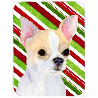 Chihuahua Candy Cane Holiday Christmas Glass Cutting Board