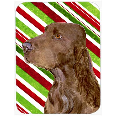 Field Spaniel Candy Cane Holiday Christmas Glass Cutting Board